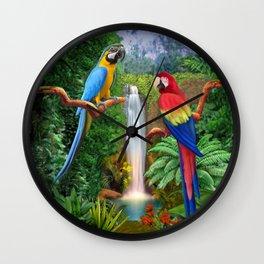 Macaw Tropical Parrots Wall Clock