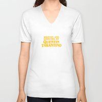 tarantino V-neck T-shirts featuring Written and Directed by Quentin Tarantino (yellow variant) by Lucas Preti