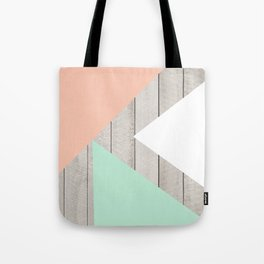 Modern Teal Peach Triangles Color Block on Wood Tote Bag