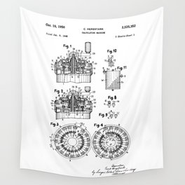 Curta Mechanical Calculator Patent Drawing Wall Tapestry