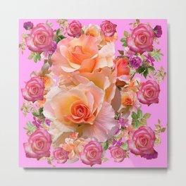 PINK-YELLOW ANTIQUE ROSES VIGNETTE Metal Print