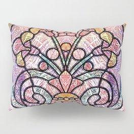 Pastel Orange, Blue and Purple Art Nouveau Stain Glass Art Pillow Sham