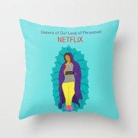 netflix Throw Pillows featuring Netflix Nuns by KatieBellProductions