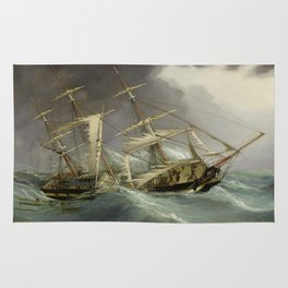 Vintage Destroyed Sailboat During Storm Painting (1859) Rug