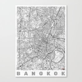 Bangkok Map Line Canvas Print