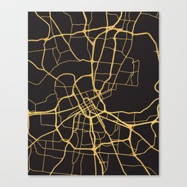 NASHVILLE TENNESSEE GOLD ON BLACK CITY MAP Canvas Print