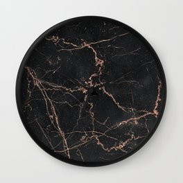 black and metallic rose gold glitter marble Wall Clock