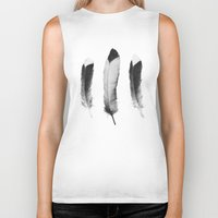 feathers Biker Tanks featuring Feathers Sketch by Amy Hamilton