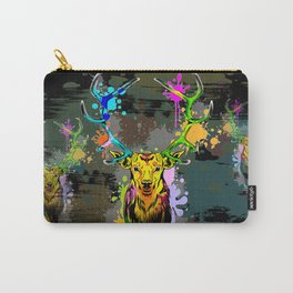 Deer PopArt Dripping Paint Carry-All Pouch