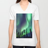 northern lights V-neck T-shirts featuring Northern Lights in Yellowknife by Vincent Demers