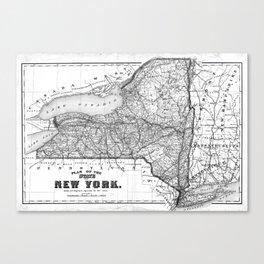 Vintage Map of New York (1873) BW Canvas Print