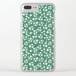 Viridian Green Coconut Cream Flower Pattern Clear iPhone Case
