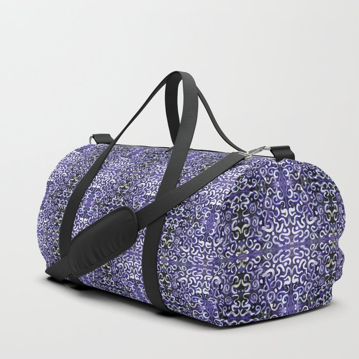 white swirls and dots on purple damask pattern Duffle Bag