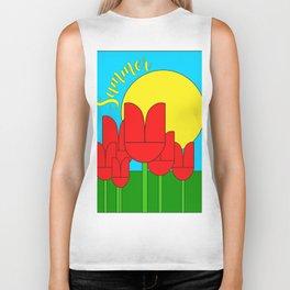 Summer with tulips - Vector Biker Tank