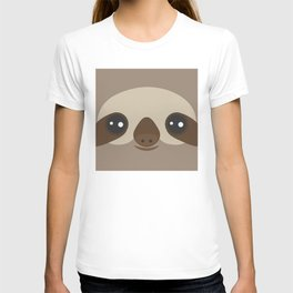 funny and cute smiling Three-toed sloth on brown background T-shirt