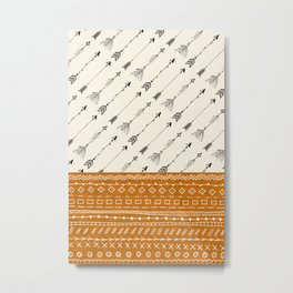 Tribal Arrows and patterns gold Metal Print