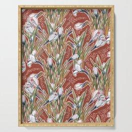 White Crocuses, Spring Flowers, Botanical Floral Pattern, Burnt Sienna Serving Tray
