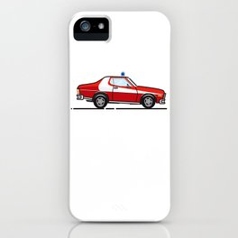 Starsky 7 Hutch Ford Torino (White background) iPhone Case