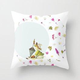 Spring Little Girl Throw Pillow