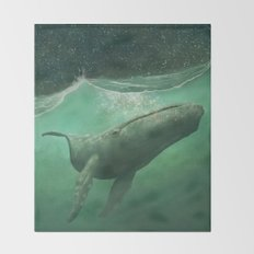 The Whale & The Moon Throw Blanket