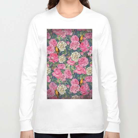 Vintage grunge Floral Rose and Birds Pattern Long Sleeve T-shirt