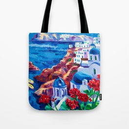 Santorini churches Tote Bag