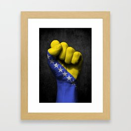 Bosnian Flag on a Raised Clenched Fist Framed Art Print