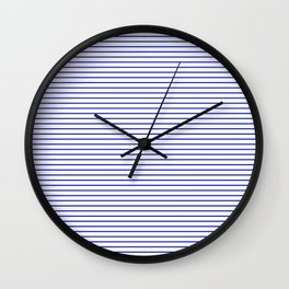 White and Royal Blue Nautical Horizontal Stripes Wall Clock