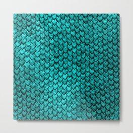 Mermaid Scales - Turquoise Metal Print