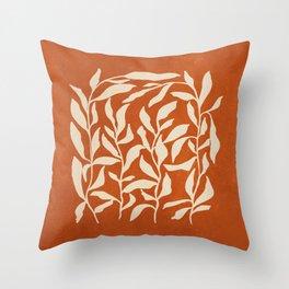 Cognac Leaves: Mid Century Terracotta Edition Throw Pillow