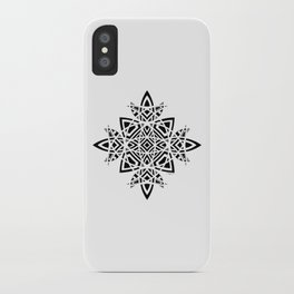#8 Geometric Abstract Floral Ornament - Black And White iPhone Case