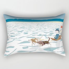 A boy, a box and two bassets hounds_Ice Rectangular Pillow
