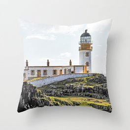 Lighthouse at Neast Point, Isle of Skye, Scotland Throw Pillow