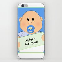 gift card iPhone & iPod Skins featuring A Gift for You by Fat Baby Expressions