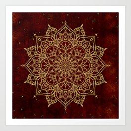 Deep Red & Gold Mandala Art Print