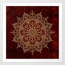 Deep Red & Gold Mandala Kunstdrucke