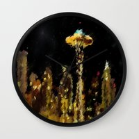 seattle Wall Clocks featuring Seattle by Paul Kimble