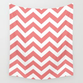 Light coral - pink color -  Zigzag Chevron Pattern Wall Tapestry