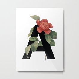 Floral Alphabet Prints: Letter A Metal Print