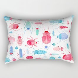 Watercolor Beetles Rectangular Pillow