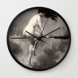 Witch On Broom Departure For The Sabbath Albert Joseph Penot Wall Clock