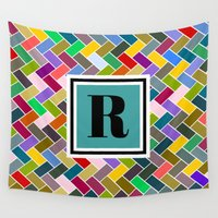 monogram Wall Tapestries featuring R Monogram by mailboxdisco