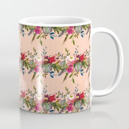 Modern red pink coral watercolor floral stripes Coffee Mug