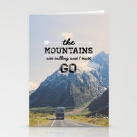 the mountains are calling Stationery Cards featuring The Mountains are Calling by Alisha KP