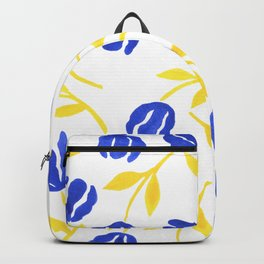 Blue and Yellow Floral Backpack