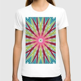 radial abstract colorful illusion background T-shirt