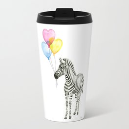 Zebra Watercolor With Heart Shaped Balloons Whimsical Baby Animals Travel Mug