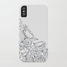 Flowery Corner Florals - Black and White iPhone Case