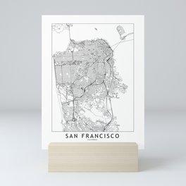 San Francisco White Map Mini Art Print