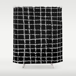 Black and white grid abstract minimal gridded pattern gifts basic nursery home decor Shower Curtain